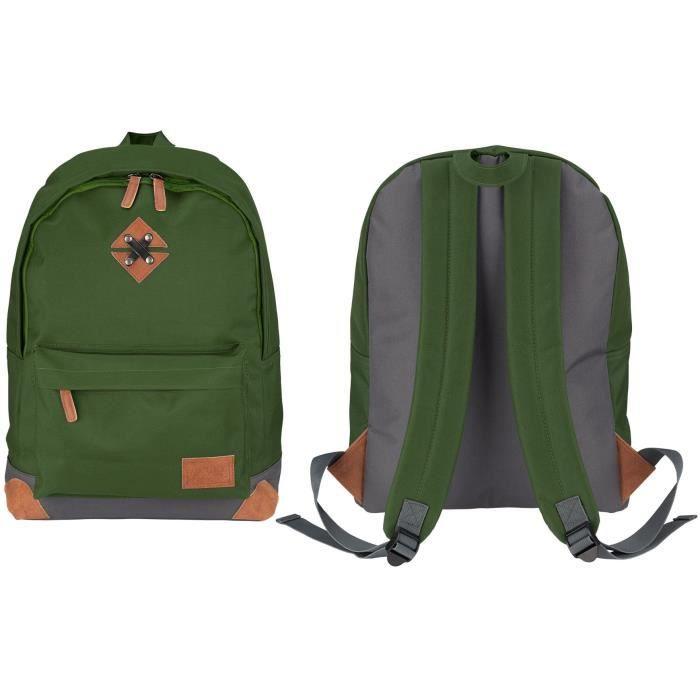 ABBEY Sac à dos de taille moyenne - 100% Polyester 300T - 42 x 30 x 16 cm - Capacité : 20 L - Vert Armée