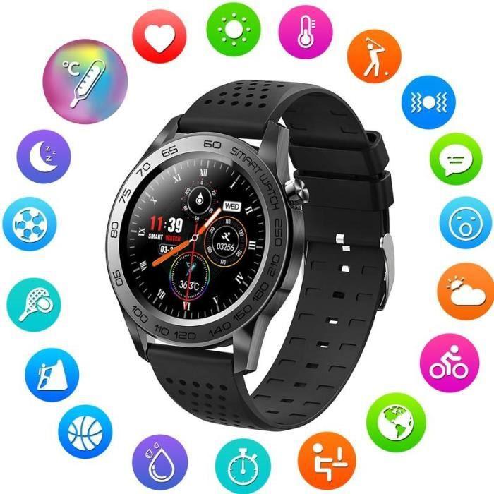 Montre Connectée Homme F22U Bluetooth Sport Montre intelligente Femme GPS tactile complet Bracelet intelligent, Noir DN1