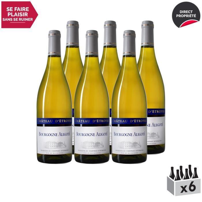 Bourgogne Aligoté Blanc 2017 - Lot de 6x75cl - Château d'Etroyes - Vin AOC Blanc de Bourgogne - Cépage Aligoté