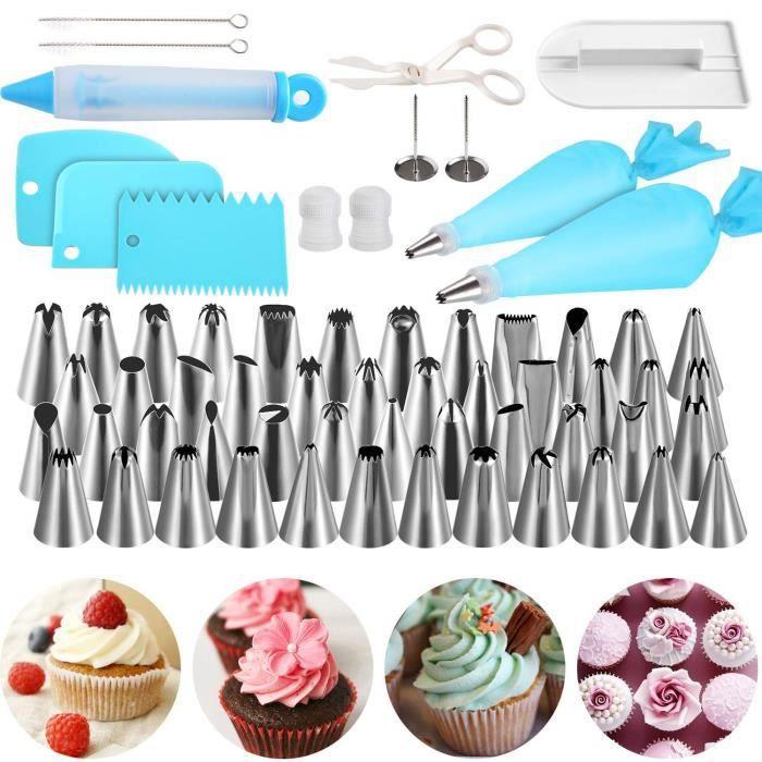 Moule de Décoration de Gâteau,Outils Ustensiles de Pâtisserie,62 Pièces Poche à Douilles, DIY Kits pour Décoration de Gâteaux