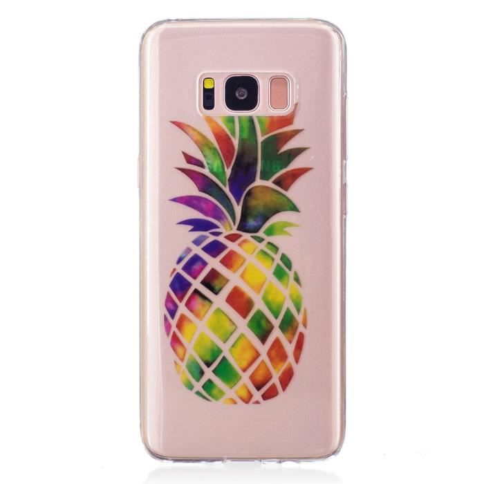 Clair TPU Transparent Silicone Coque Pour Samsung Galaxy S8 Plus -S8+ 6.2- Design - Ananas de couleur