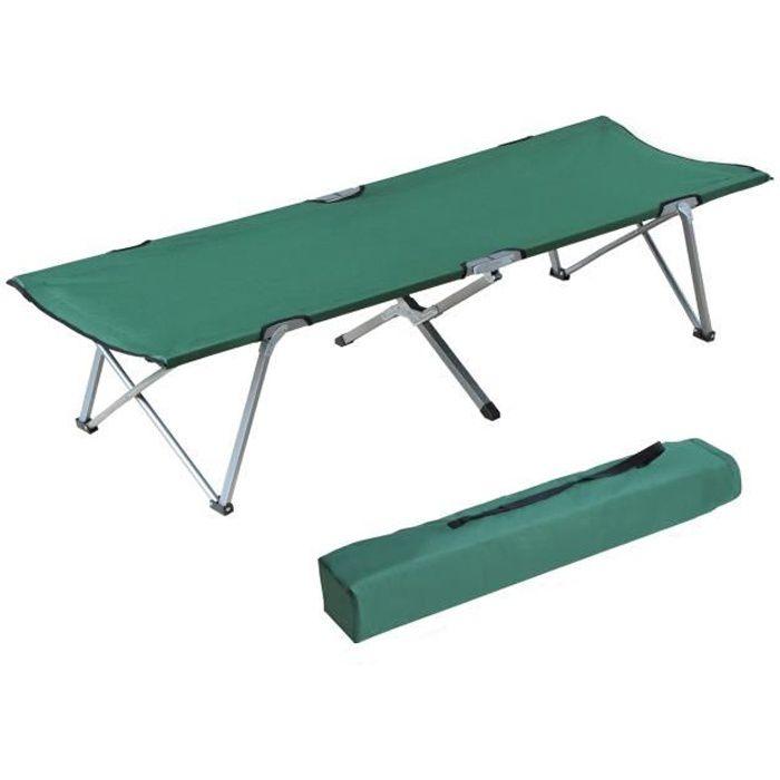 Lit de camp lit d'appoint pliable 193 x 64 x 40 cm avec sac de transport polyester Oxford métal vert et gris neuf 29GN