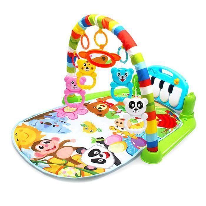 Tapis d'Éveil Évolutif Bébé de jeu Tapis Amis de la Jungle Tapis de jeu musical pour bébé