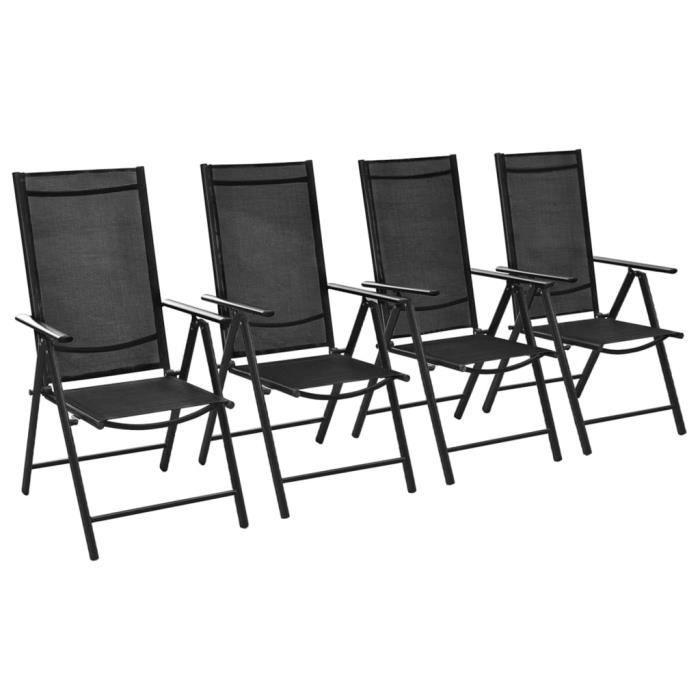 Lot de 4 Chaises de jardin Fauteuils de jardin -Chaises pliables de jardin 4 pcs Aluminium et textilène Noir🍦6819