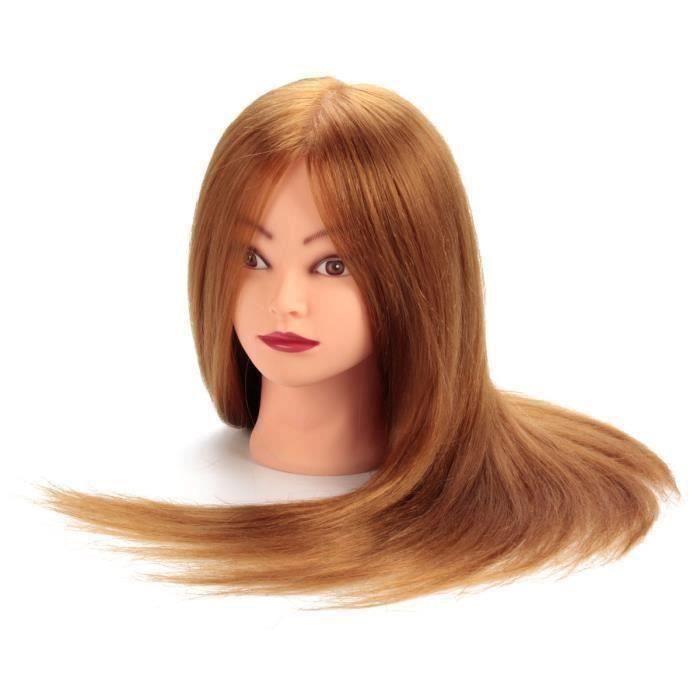 24pouces Pro Tête à Coiffer 80% Cheveux Long Vrais Coiffure + Étau - AVC824AA3205