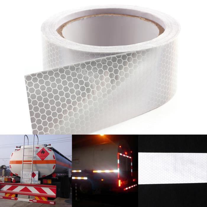 10m x 5cm ruban autocollant bande réfléchissant lumière couleur en blanc
