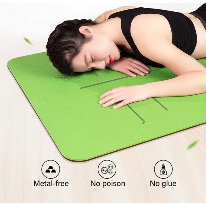 matelas de gymnastique et de Pilates, Tapis de Yoga TPE à double couche, antidérapant et avec une ligne de position 1830x610x6mm