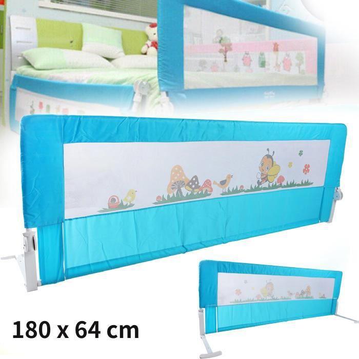 180 x 64 cm Barrière de sécurité de lit enfant Pliant Barrière De Lit Enfants Bébés Protection Barrière de lit Bleu