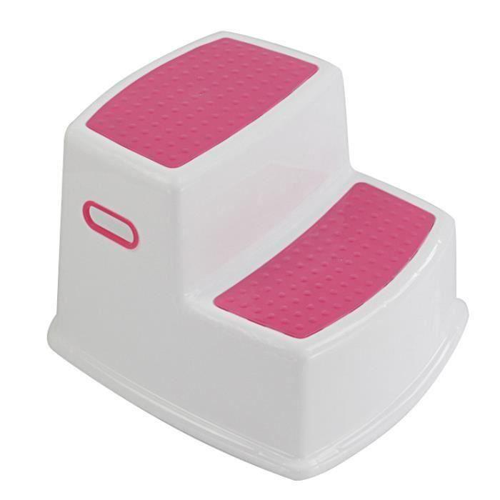 Tabouret 2 étapes Antidérapant pour enfants Tabouret enfant pour toilettes Cuisine Salle de bain-ROSE LIA15774