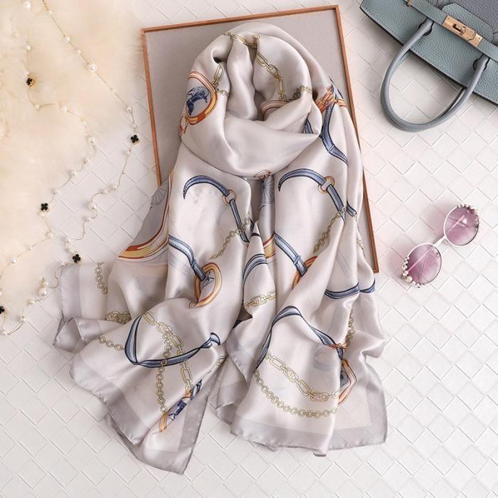 foulard plage,Van Gogh – Foulard en soie pour Femme, écharpe de marque de luxe, imprimé Floral abricot, Hijab, - Type XC80-L180cm