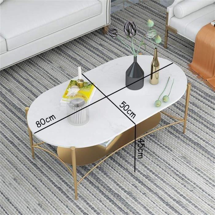 Tables de jardin Side Table Ovale Moderne Naturel Marbre Table Double-Decker Side, Or Creative Fer Forgé Ablage Table, S 100928