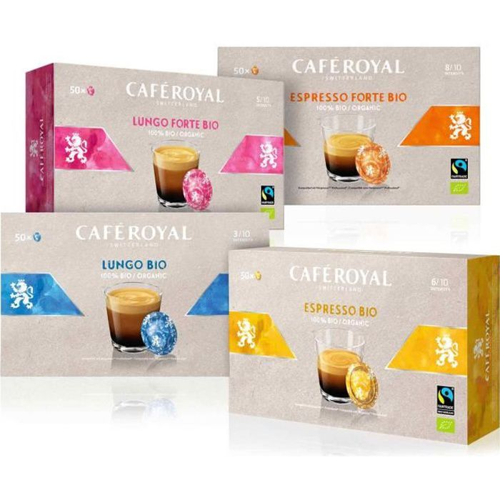 CAFE ROYAL PRO - 200 CAPSULES COMPATIBLES NESPRESSO PRO® - Saveur Multiples Bio - 4x50 Espresso, Espresso Forte, Lungo, Lungo Forte