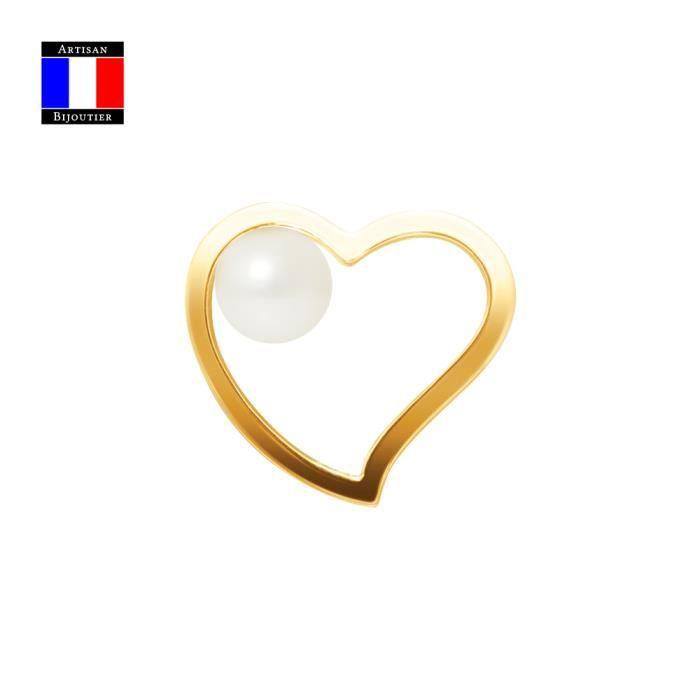 Compagnie Générale des Perles - Pendentif Coeur - Véritable Perle de Culture Ronde 6-7 mm - Or Jaune 18 Carats - Bijou Femme