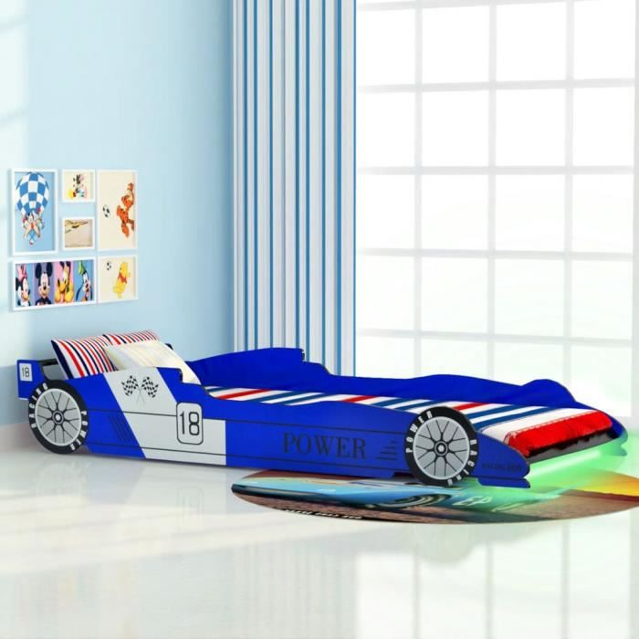 LEXLIFE Lit Enfant en bois avec LED - 90 x 200 cm - Cadre de lit voiture Pour Enfants - Bleu