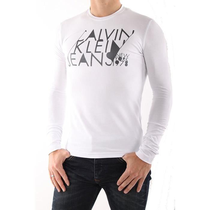 T-Shirt Calvin Klein manches longues pour hommes - CMP13V blanc.