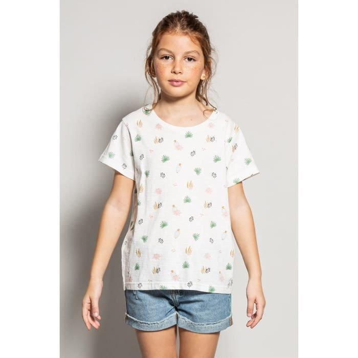 DEELUXE T-shirt imprimé floral ELINA Ecru