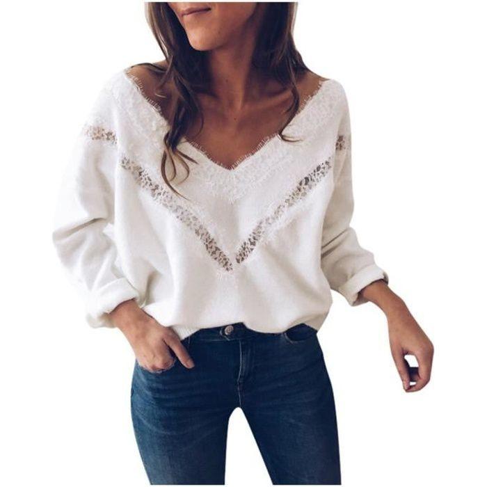 PULL,Hiver Pull femmes blanc col en V dentelle Pull automne vêtements femmes Sweter hauts pour femmes chandails Pull - Type White