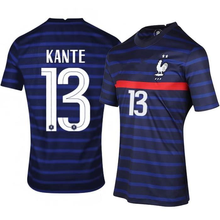 Maillot de Football France 2021 KANTE 13 T-Shirt de L'équipe FFF Domicile Maillot de Formation Tissu Respirant Bleu Junior Enfant