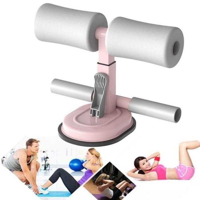 Sit-Up Bar Aid-Accessoires Portable Double Ventouse Avec Cheville Rembourrée Abdominaux Fitness Aid - Rose Et Gris
