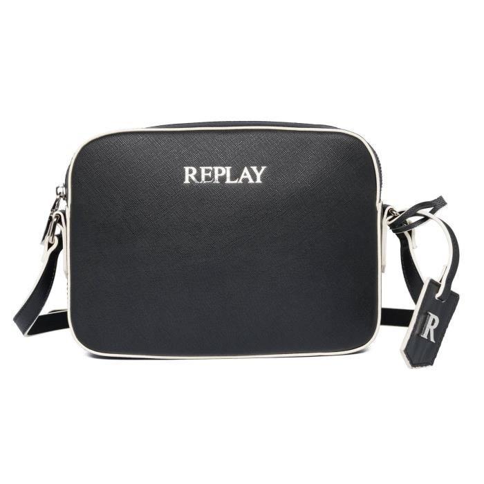 REPLAY Crossbody Bag with Zip Black [125057] - sac à épaule bandoulière sacoche