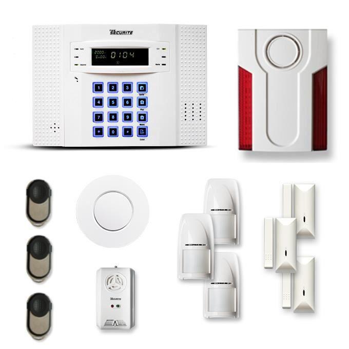 Alarme maison sans fil DNB 3 à 4 pièces mouvement + intrusion + détecteur de fumée + gaz + sirène extérieure - Compatible Box intern