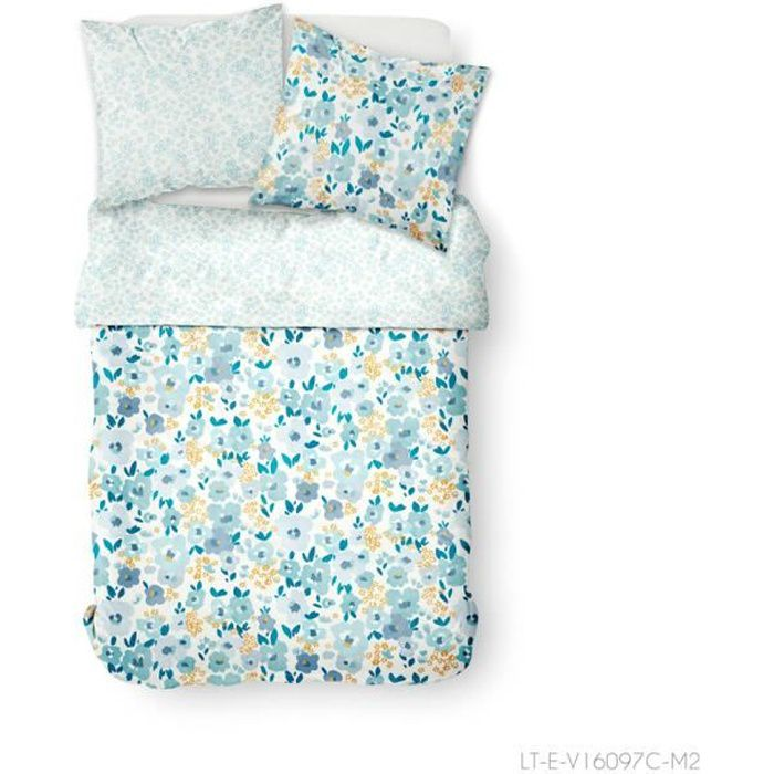 TODAY Parure de lit 2 personnes 240X260 Coton imprime bleu Floral SUNSHINE TODAY