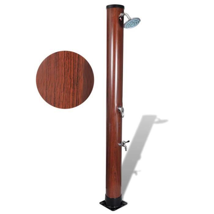 Douche solaire de piscine avec finition faux bois Brun