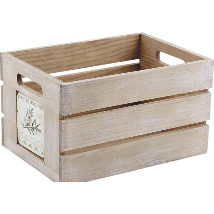 caisse de rangement provence en bois 28x20x16cm achat. Black Bedroom Furniture Sets. Home Design Ideas