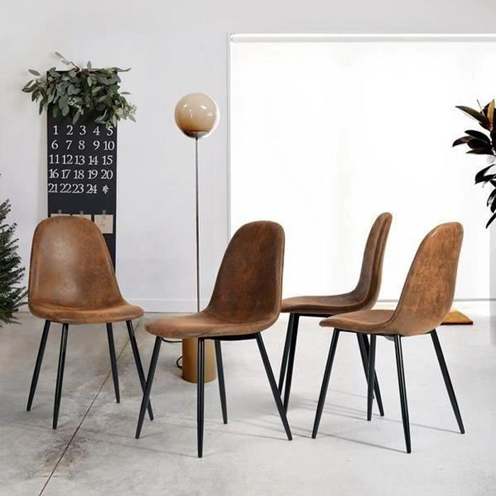 lot de 4 chaises de salle manger chaises de cuisine chaises scandinaves vintage en pu cuir. Black Bedroom Furniture Sets. Home Design Ideas