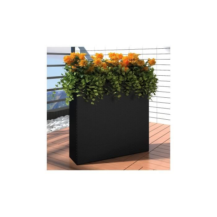 bac rectangle pot de fleurs en rotin noir achat vente jardini re pot fleur bac rectangle. Black Bedroom Furniture Sets. Home Design Ideas