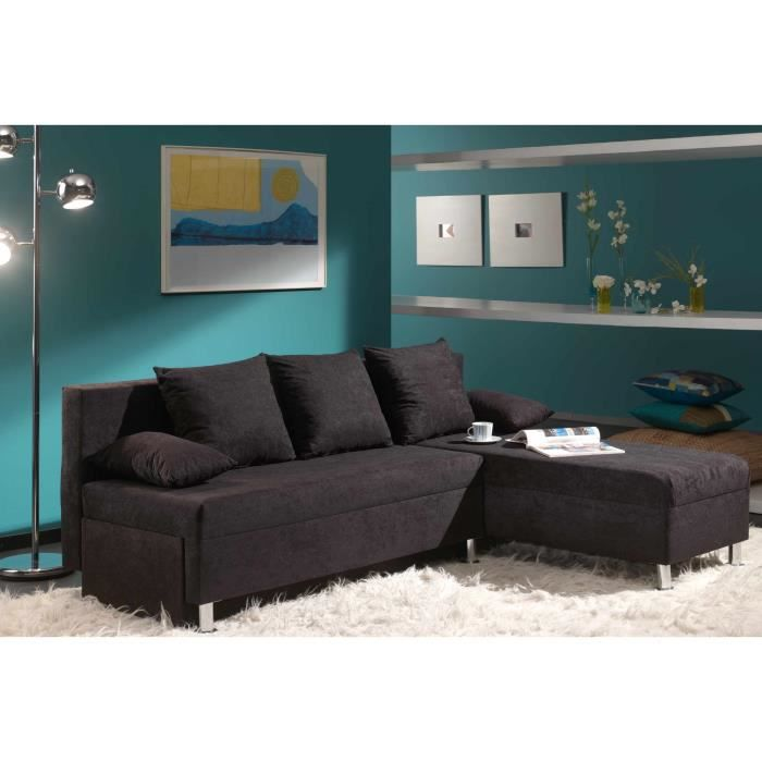 canap d 39 angle microfibre noir convertible modulable malbo achat vente canap sofa divan. Black Bedroom Furniture Sets. Home Design Ideas
