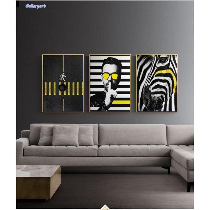 Moderne Hd Toile Peinture Zèbre Traversant Affiches Et Impressions Art Mur Photos Pour Salon Noir Et Blanc Modèles Non Encadrés