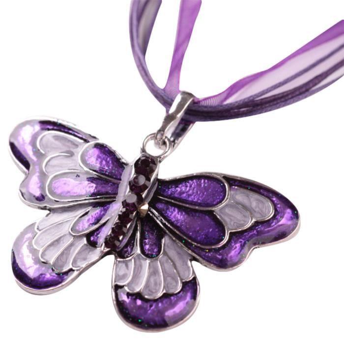 Filles émail plaqué argent papillon cristal collier pendentif avec chaînes un