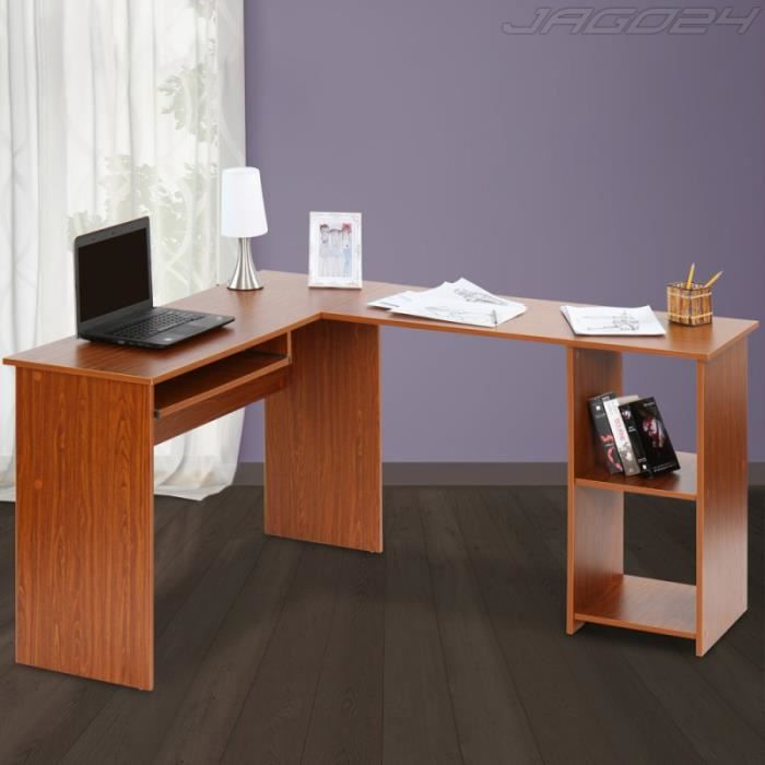 bureau d 39 angle table d 39 ordinateur noyer achat vente bureau bureau d 39 angle table cdiscount. Black Bedroom Furniture Sets. Home Design Ideas