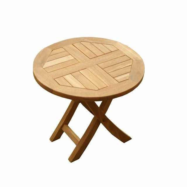 Table Basse Pliante Ronde En Teck Diam 50 Cm Achat Vente