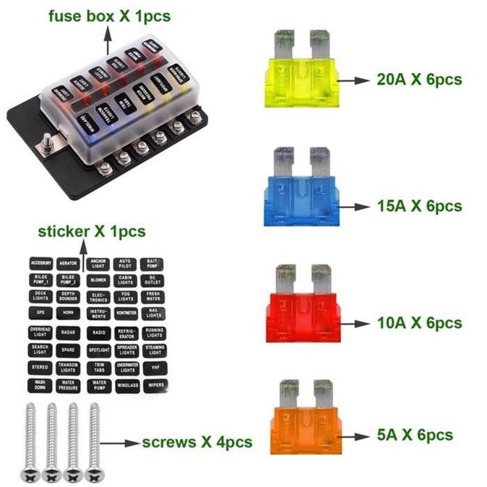 6 way blade fuse box & distribution bar bus boat car kit marine holder 12v  32v  kamun x