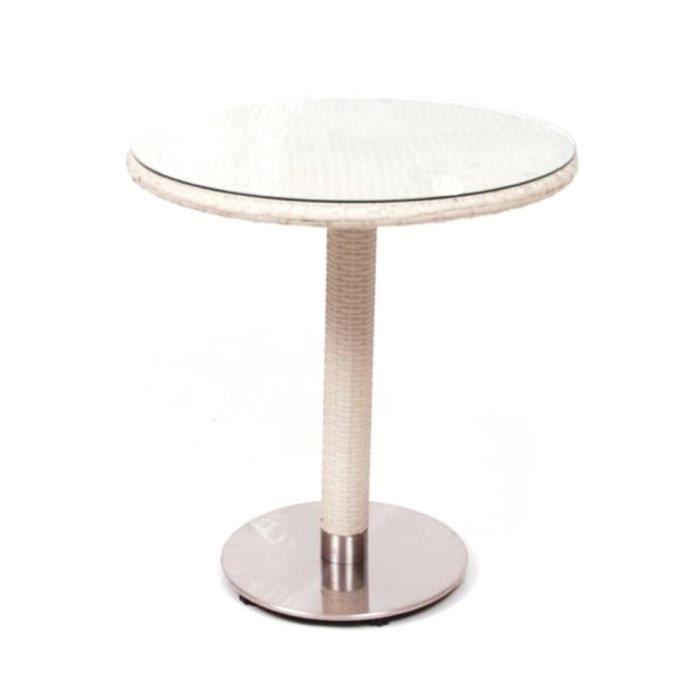 Table ronde Ø 70 cm poly rotin osier blanc M0888-08 - Achat ...