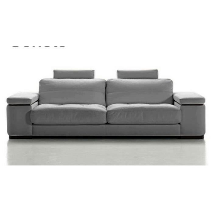 canap 2 place en 100 cuir luxe gris clair maison blanche achat vente canap sofa. Black Bedroom Furniture Sets. Home Design Ideas
