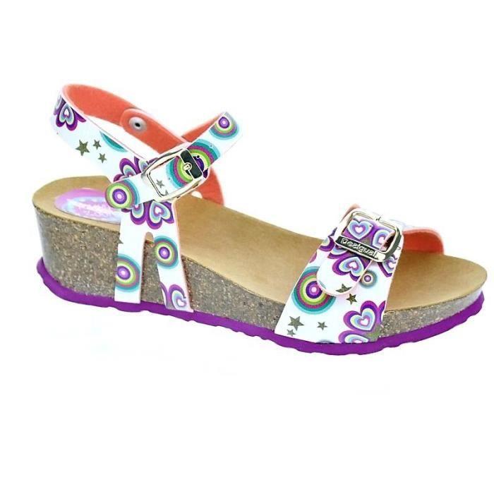 Chaussures Desigual Fille Sandales modèle Strips Wedge Blanc