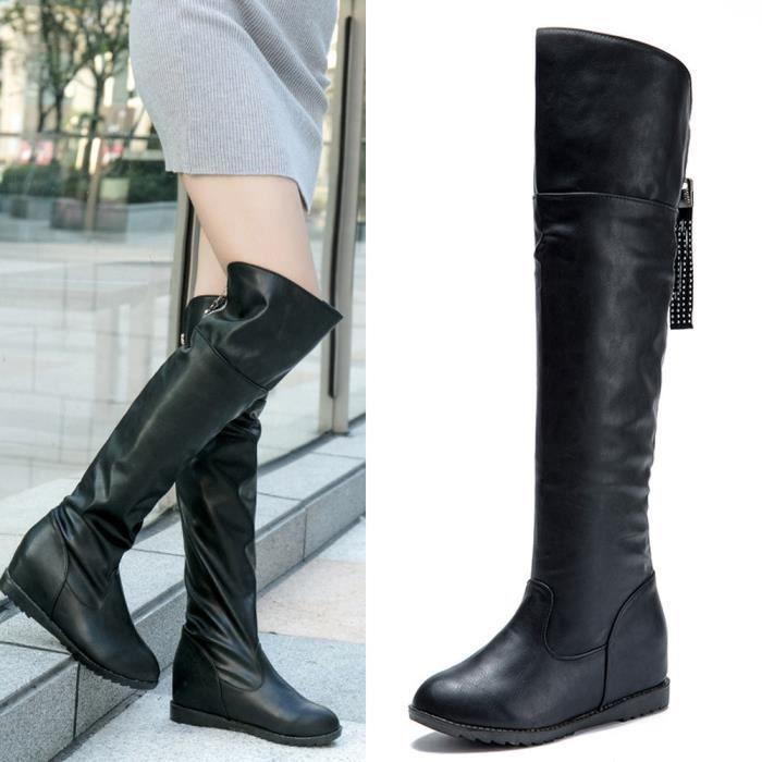 Napoulen®Hiver botte cuissardes haute sur la genou augmenté talons plats pour femmes Noir YJJ71012381BK