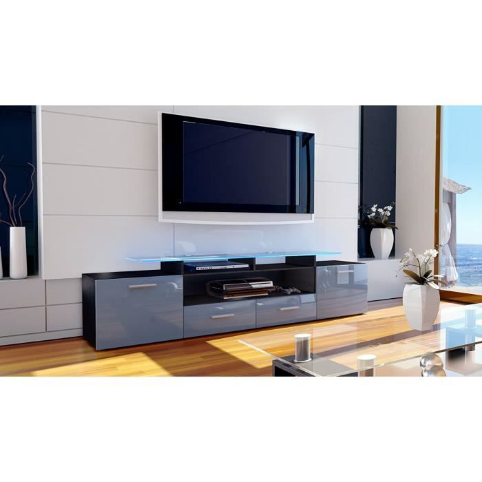 meuble tv design noir mat et gris laqu avec led 194 cm achat vente meuble tv meuble tv. Black Bedroom Furniture Sets. Home Design Ideas
