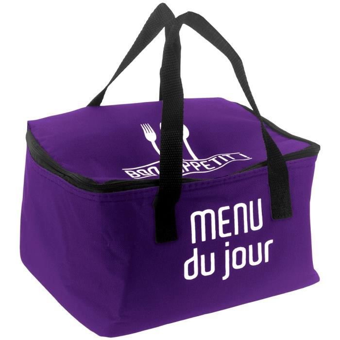 lunch bag sac panier repas fraicheur isotherme menu du jour prune achat vente lunch box. Black Bedroom Furniture Sets. Home Design Ideas