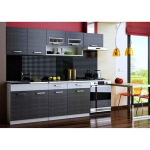 CUISINE COMPLÈTE Cuisine complète TOPAZE noir 2M40/6 meubles ave…