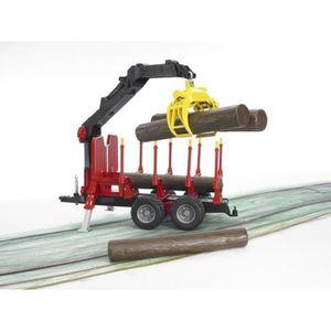 VOITURE - CAMION BRUDER - 02252 - Remorque forestière avec chargeur