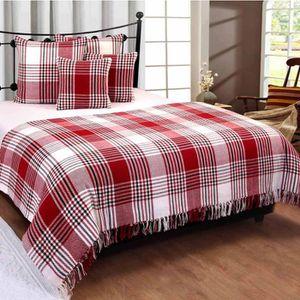 JETÉE DE LIT - BOUTIS Jeté de lit ou de canapé Tartan Rouge 225 x 255 cm