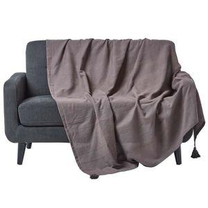 JETÉE DE LIT - BOUTIS Jeté de lit ou de canapé – Rajput tissé main – Gri
