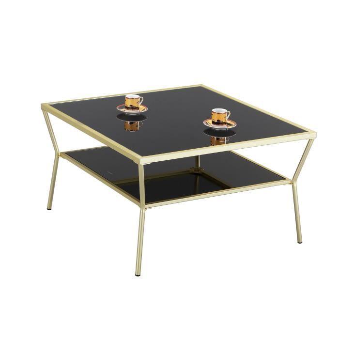 Aspect Fusion-Side End Table Basse en Verre, métal, Laiton-Noir, 70x 70x 40cm