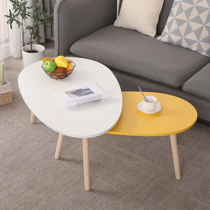 HUGUANGh® lot de 2 tables basse ovale blanche et jaune avec 3 pieds en bois (98x40x60cm,88x34x48cm)