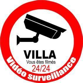 Autocollant/sticker : Videosurveillance Villa (10cm)