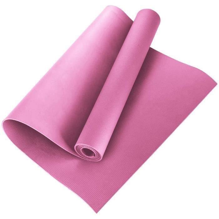 4MM Tapis de Yoga EVA Antidérapant Gym à Domicile Tapis D'exercice Pilates Tapis de Fitness173 * 60 * 0.4 cm Rose